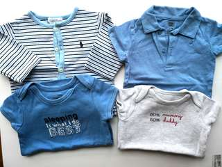 Preloved Bundle Set of 4 Assorted Cute Baby Onesies & Cardigan - very good condition