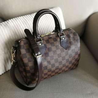 Authentic Louis Vuitton Speedy 25 Bandouliere Damier Ebene