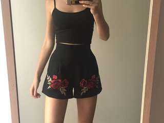 Red Floral Patch Shorts