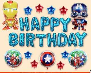 <In-Stock> Happy Birthday decoration set - ironman and captain america