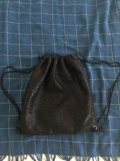 Black shiny festival bag