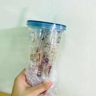 S-moda。MOOMIN 嚕嚕米夏日雙層插畫冷水杯-透明款(藍色)#飲料杯 #環保杯 #含運 #免運費