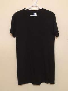 H&M Longline Tee Black Size Small