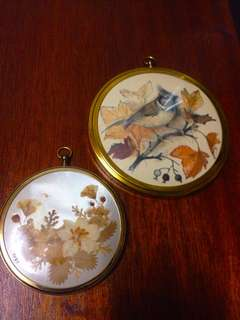 Vintage Gold Round Frame with Press Flower and Illustration set of 2