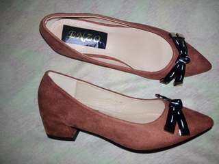 Block Shoes 2 inches Camel Brown