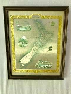 Vintage antique Tallis New Zealand Map Frame