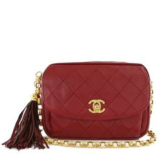 Vintage Chanel紅色羊皮流蘇菠蘿扣金鏈camera bag 18x13x7cm