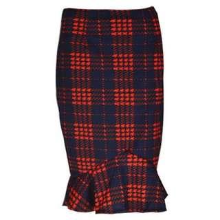 Plaid Flounce High Waist Color Block Skirt  TG