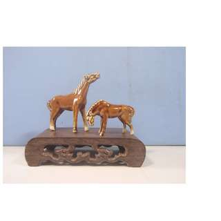 Vintage ceramic horses pair on display wood stand circa 1970s