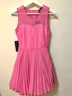 🚚 全新亮片芭比粉紅公主紗裙短洋裝