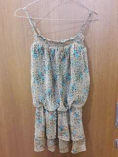 Preloved Mini Dress Chiffon Motif Rame Fit to L Mat Chiffon ada lapisan furingnya