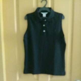 Brooks Brothers black sleeveless shirt