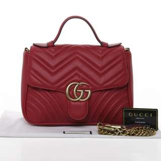 Gucci Marmont Chevron Quilted Top Handle