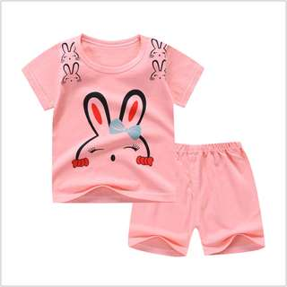 Pink Rabbit (mix any design) Short-Sleeved Suit Cotton Children - Min Qty 3 Pairs