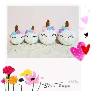 🚚 Handmade Crochet Unicorn Macaron Keychain cute unique gift