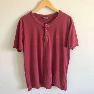 Lacoste Coral Quarter Button Distressed Tee