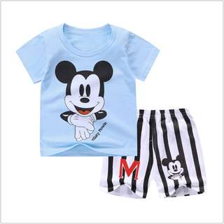 Big Head Mickey (mix any design) Short-Sleeved Suit Cotton Children - Min Qty 3 Pairs