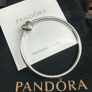 Pandora Silver Bangle with Heart Clasp