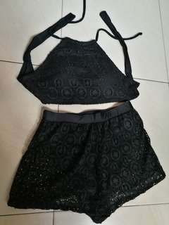 Sexy black lace swimwear