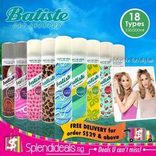 Batiste Dry Shampoo 150/200ml - more than 18 types available