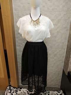 黑色網紗七分裙(整套售)