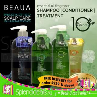 Beaua Medicated Shampoo | 10 essences Shampoo & Conditioner (Made in Japan)