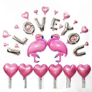 a26 birthday party foil balloon flamingo
