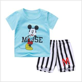 Cuff Mickey Mouse (mix any deisin) Short-Sleeved Suit Cotton Children - Min Qty 3 Pairs