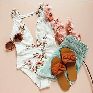 White floral swimsuit
