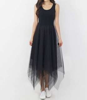 Korean Modal Irregular Black Long Dress