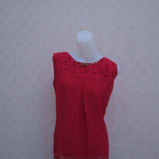 Blus casual chiffon in red