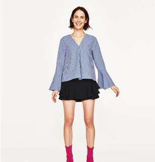 Authentic Zara Gingham Bell Sleeved