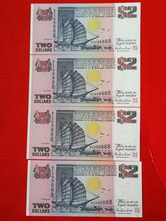 Singapore ship.series.last prefix BZ 000088,000888,008888&088888 ALL Gem unc but 2 pcs corner slight stains,selling as a set of 4