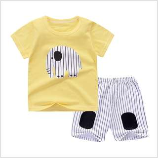 Yellow Elephant (mix any design) Short-Sleeved Suit Cotton Children - Min Qty 3 Pairs