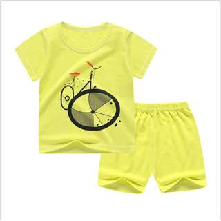 Bicylce (mix any design) Short-Sleeved Suit Cotton Children - Min Qty 3 Pairs