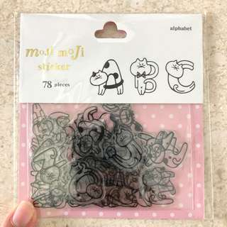 Alphabet cat stickers, 78pcs