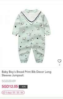 Baby Boys Bread Print Bib Decor Long Sleeves Jumpsuit