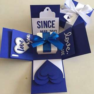 Valentine explosion box with lighthouse & 4 personalised photos in navy & white