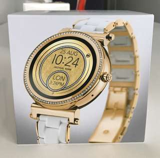 BNWT: MICHAEL KORS ACCESS Sofie Pavé Gold-Tone and Silicone Smartwatch watch