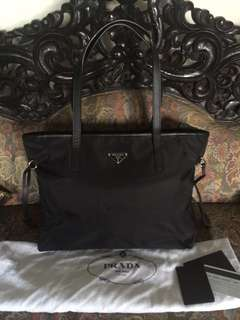 DROP PRICE - Prada 1BG401 Tessuto Saffiano Black Nero Tote | in Very Good Condition | with Bag, Dustbag, Card and Booklet
