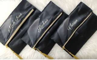 CUSTOM FOLDED CLUTCH black satin pouch