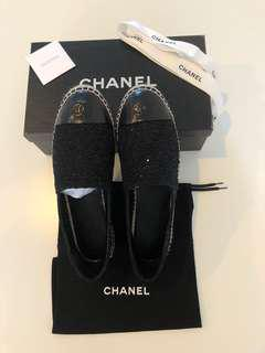 Authentic Chanel Black Tweed Leather Cap Toe Espadrilles
