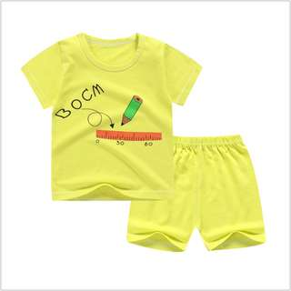 Green Pencil (mix any design) Short-Sleeved Suit Cotton Children - Min Qty 3 Pairs