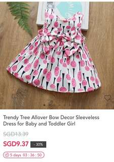 Trendy Tree Allover Bow Decor Sleeveless Dress for Baby and Toddler Girl