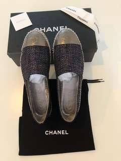 Authentic Chanel Navy Tweed Espadrilles