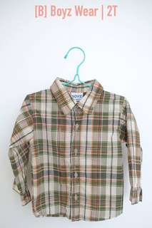 Boys checkered polo long sleeves, 2T