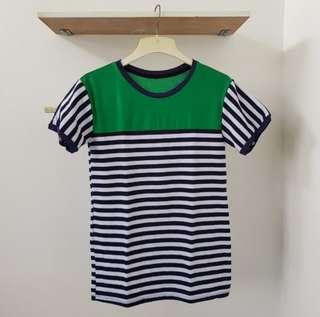 White Green Stripes Tee