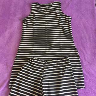 Stripes dress with shorts