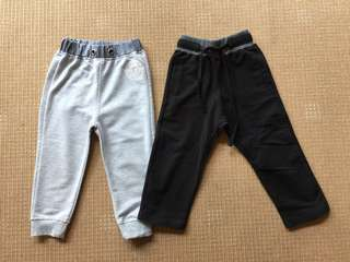 (2 yrs old) set of 2 joggers, grey and black