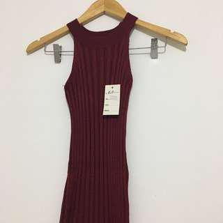 Maroon Body Con Halter Dress